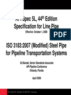 API 5L Presentation | Nondestructive Testing | Pipe (Fluid Conveyance)