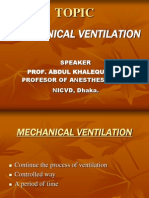 Mechanical Ventilation IN ANESTHESIOLOGY & CARDIOLOGY ,NICVD,