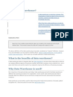 What is Data Warehouse Questions