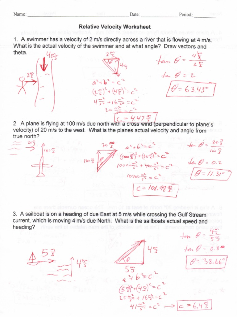 Relative Velocity Worksheet Answers