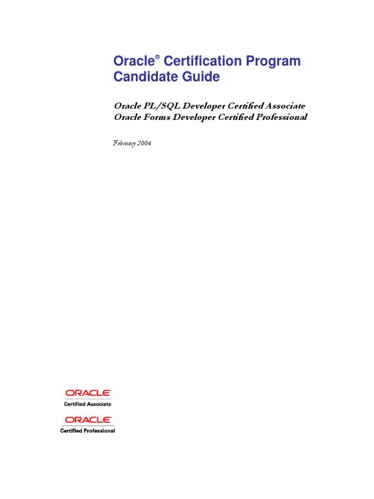 Oracle Certification Program Candidate Guide Oracle Database Plsql