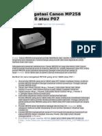 Cara Mengatasi Canon MP258 Error 5B00 Atau P07