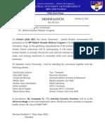 Memorandum 010-1314 Buklod Atenista Midyear Congress