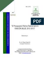 Presupuesto Publico Federal Para La Funcion Salud 2012-2013