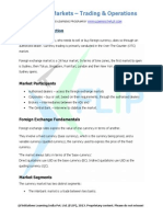 Currency Markets - Trading & Operations