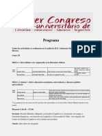 Programa congreso con lugar de realización