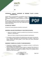 Propuesta INGENIERIA de PROCESO Y MECANICA Planta de Alcohol Deshidratado Rev 23 May