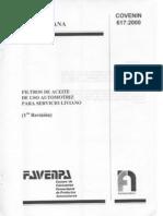 COVENIN 617-2000 Filtros de Aceite