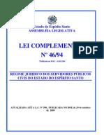 LEI 46 regime jurídico dos servidores do es