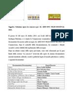 1. Selezione opere in concorso per AL ARD DOC FILM FESTIVAL 2013 (verbale)