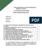 FORMATO  DE VERIFICACIÓN PARA LA OFICINA CENTRAL DE GRADOS Y TITULOS - GRADO ACADEMICO BACHILLER