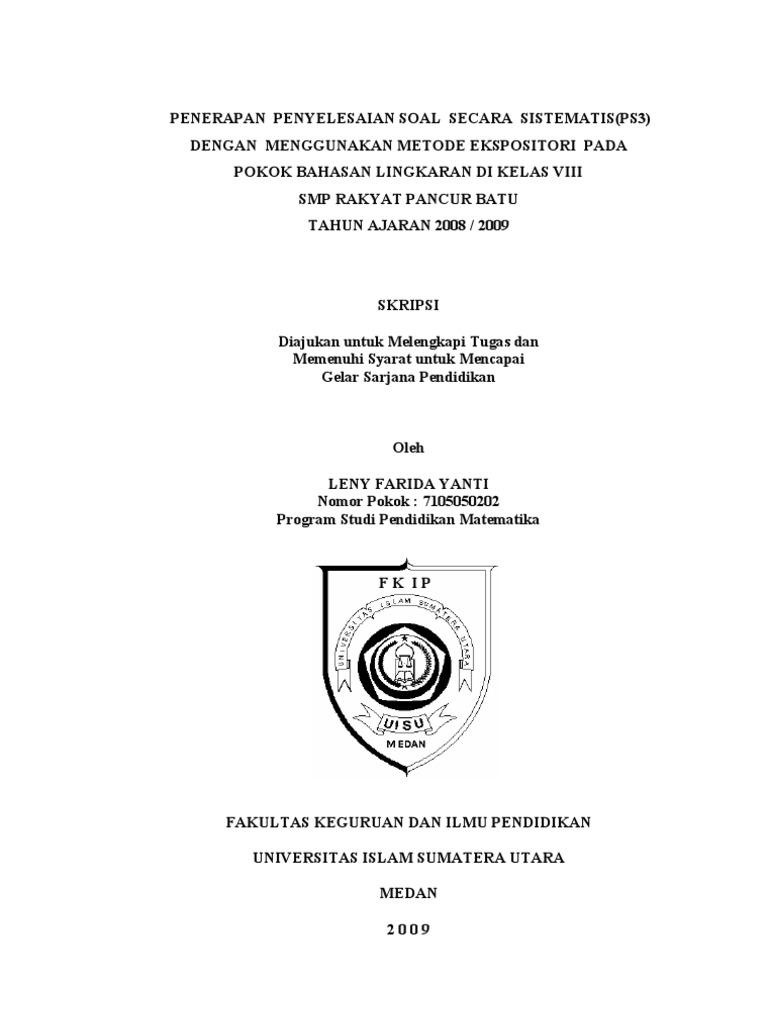 Contoh Proposal Skripsi Matematika Kualitatif