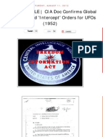 UFO - CIA Doc Confirms Global UFO 'Intercept' Orders in 1952