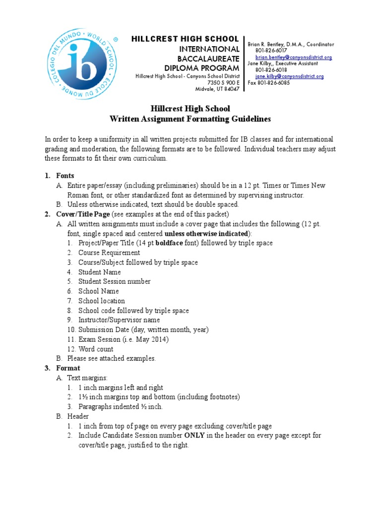 Ib written assignment format citation writing fandeluxe Gallery