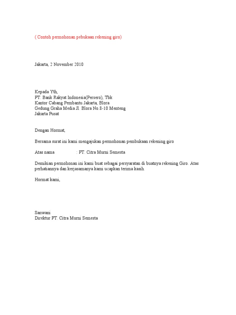 contoh surat buka giro