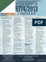 Yom Kippur Checklist
