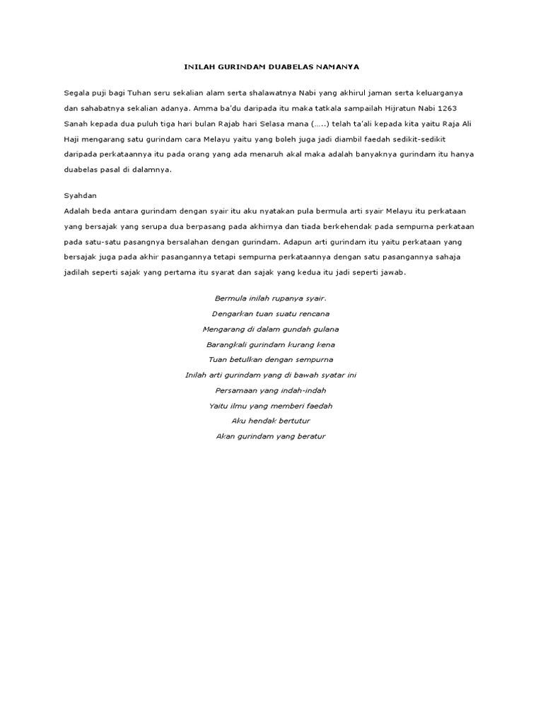 Gurindam 12 Dan Syair Karya Raja Ali Haji