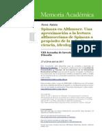 Spinoza en Althusser. Una Aproximacion a La Lectura Althusseriana de Spinoza a Proposito de La Relacion Entre Ciencia, Ideologia y Politica