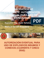 Elaboracion de Expediente AutorizacionEventual Para Uso de Explosivos