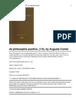 Cours de Philosophie Positiv