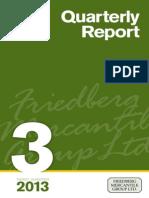 Third Quarter 2013- Quarterly Report