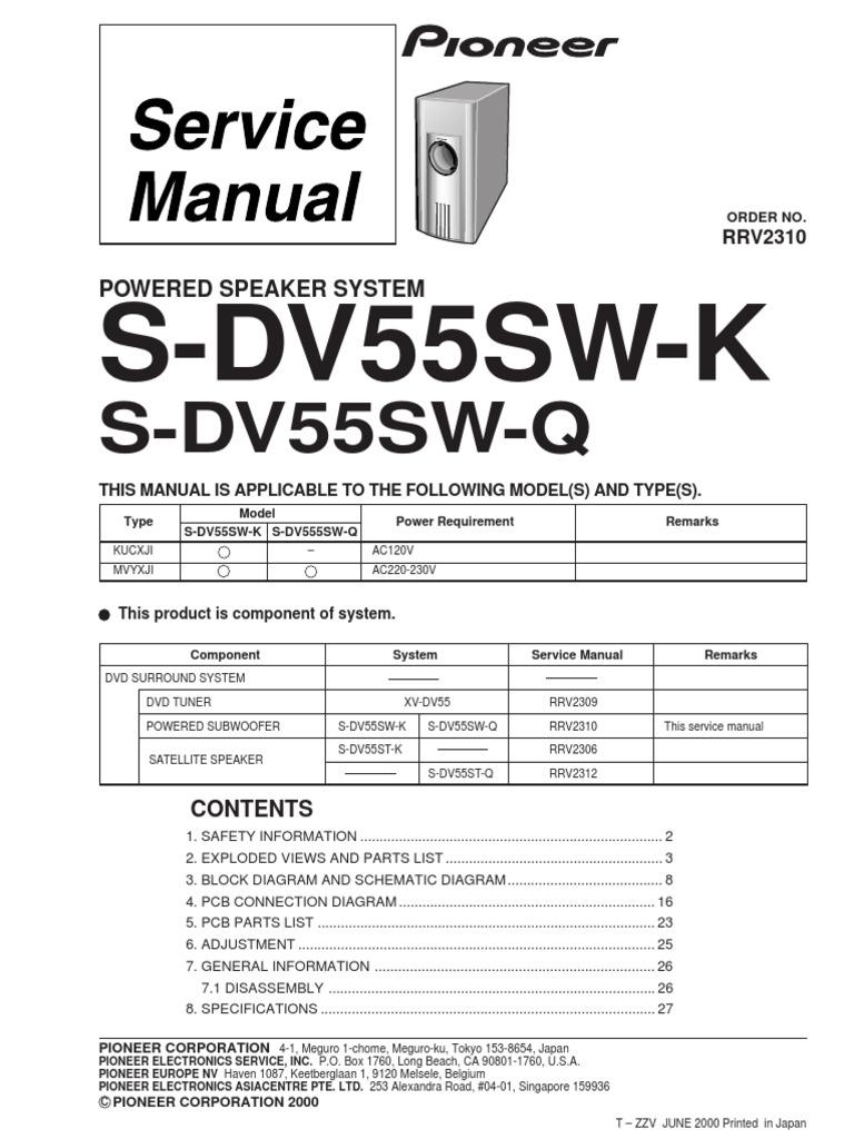 Pioneer S Dv55sw K Q
