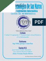 Unidad 4 Legislación Y Normatividad Actual Relativa A La Información
