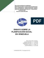 ENSAYO PLANIFICACIÓN EN VENEZUELA