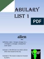 vocabulary list 1