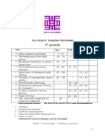 Skills Sharing Consult's 2014 Training Schedule