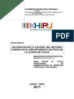 Valoracion de La Calidad Del Recurso Humano en El Departamento de Pisos de La Ciudad de Cusco