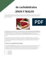 Lista de Carbohidratos BUENOS Y MALOS