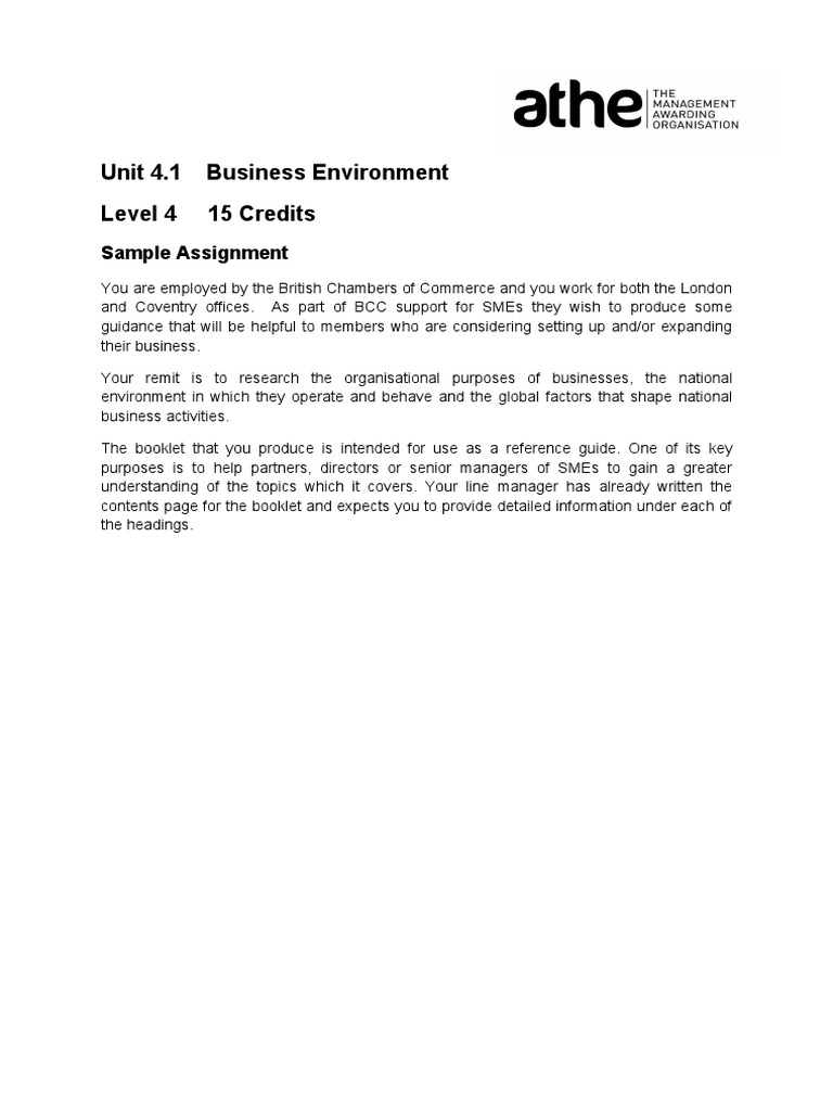 business environment assignment topics