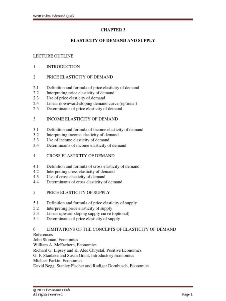 CHAPTER3ELASTICITYOFDEMANDANDSUPPLYpdf – Elasticity of Demand Worksheet