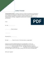 Congratulation Letter Format
