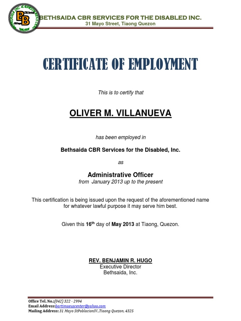 driver certificate of employment sample