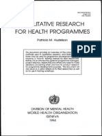 Qualitative Research for Health Programmes