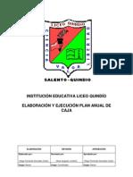 Elaboración y Ejecución Plan Anual de Caja