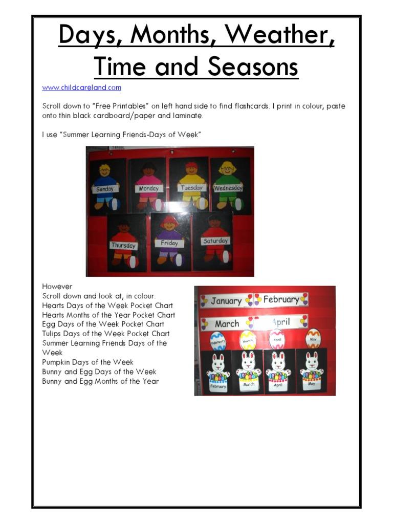 Days, Weeks, Months, Seasons pdf