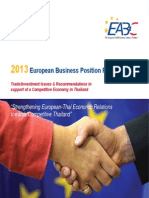 EABC Thailand European Business Position Paper 2013