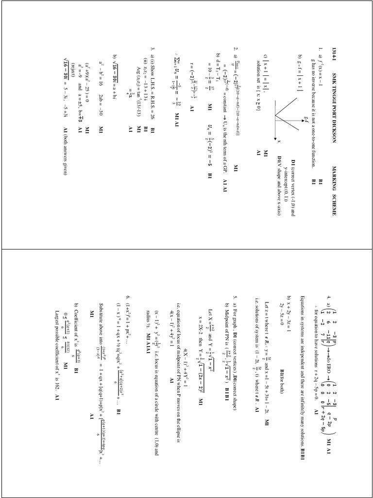 STPM Maths T Sem 1 Trial 2014 P1 Port Dickson Answer