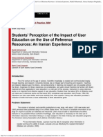 Students' Perception of the Impact of User Education on the Use of Reference