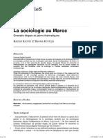 HIST La Sociologie Au Maroc