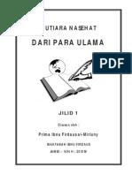 Mutiara Nasehat Dari Para Ulama Jilid 1 - Prima Al-Mirluny