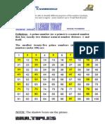 Prime Numbers Worksheet
