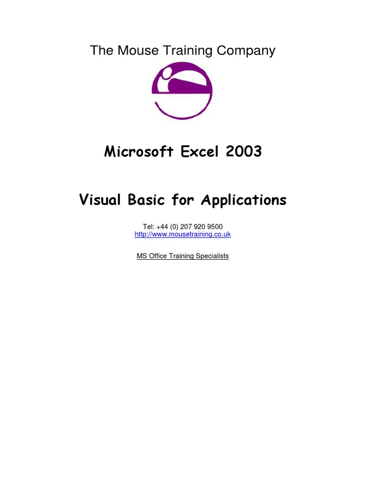 Excel 2007 Visual Basic For Application Vba Pdf Microsoft Excel