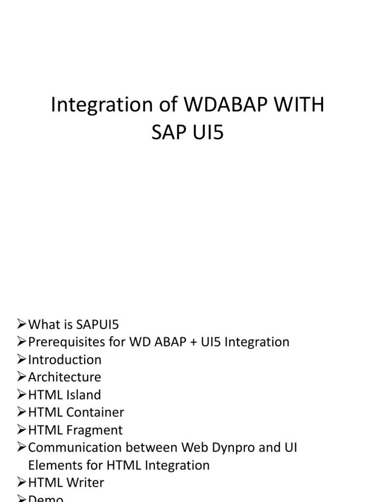 Integration of WDABAP WITH SAP UI5 pptx | HTML | Script de Java