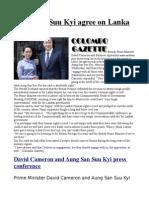 Cameron, Suu Kyi Agree on Lanka