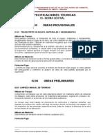 Especificaciones Berma Central