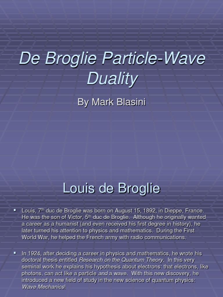 de broglie thesis 1924